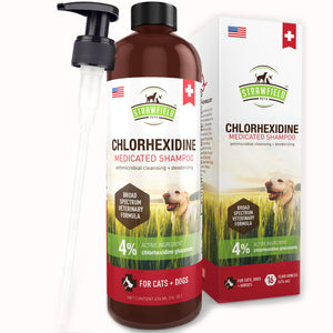 Chlorhexidine Shampoo for Dog, Cat - 16 Ounce - Medicated Antiseptic Pet Wash