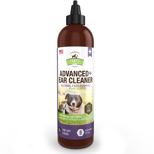 Advanced+ Ear Cleaner, 8 oz, Mite Treatment, Yeast Infection, Cleaning Solution Wash for Otic Itching, Odor, Discharge - Antifungal, Antimicrobial Cleanser with Aloe, Apple Kiwi Scent