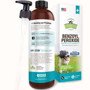 Benzoyl Peroxide Shampoo for Dogs Cats + Sulfur - 16 oz - Medicated Dog Shampoo for Smelly Dogs, Anti Itch Dry Skin Allergy Treatment, Folliculitis, Seborrhea, Dermatitis, Dandruff, Infection, Mange