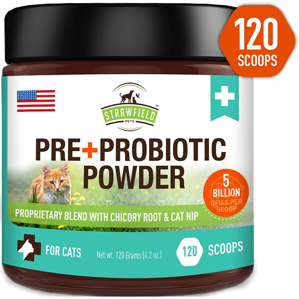 Pre + Probiotic Powder for Cats, 4.2 oz, with 5 Billion CFUs with Chicory Root & Catnip