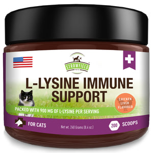 Lysine for Cats - Best L-lysine Powder Supplement - Strawfield Pets All Natural Immune System Support - Helps Maintain Eye & Respiratory Health - 900mg Per Serving - 8oz - Made in the USA