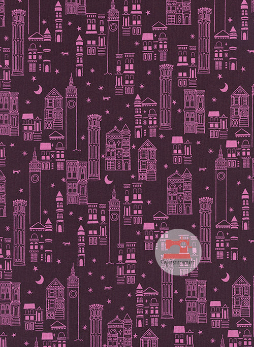 Metropolis from Lawn Quilt by Cotton + Steel in Wine Yardage