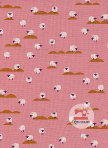 Sheep from Panorama by Melody Miller and Sarah Watts for Cotton + Steel in Coral Yardage