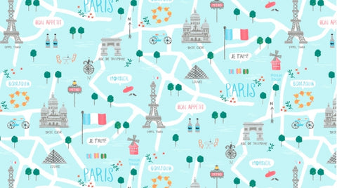 Le Map from Parisienne for Dear Stella in Capri Yardage
