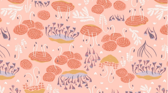 Moss by Rae Ritchie for Dear Stella in Salmon Yardage