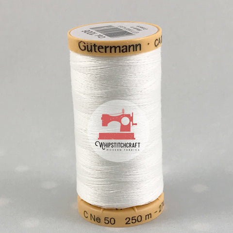 Gutermann 100% Cotton Thread 273 yards in White