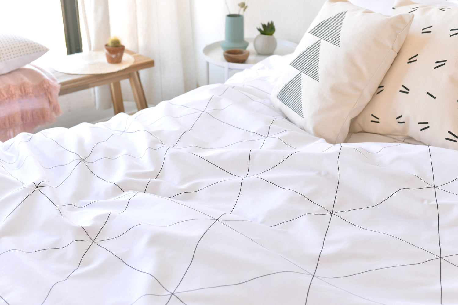 mosaic organic sateen cotton duvet cover