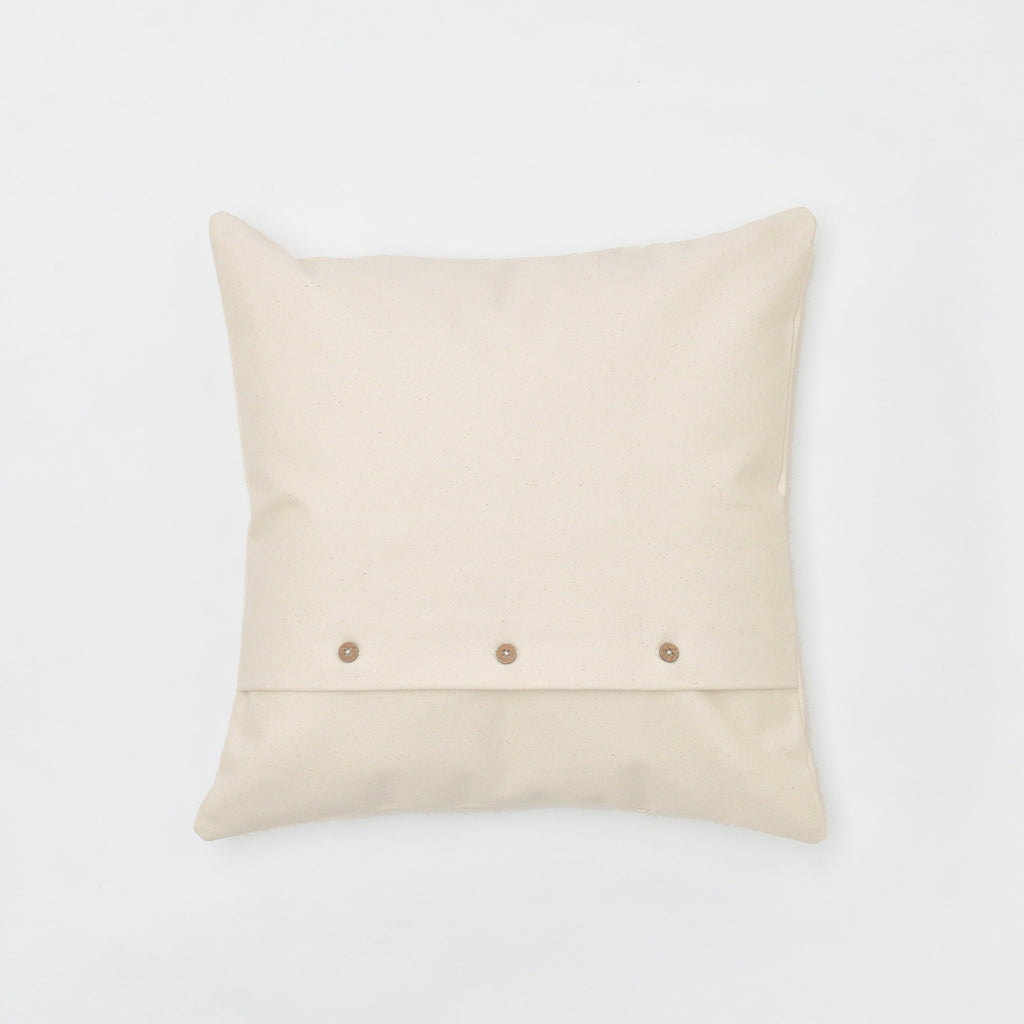 back of dream catcher throw pillow - wood button detail