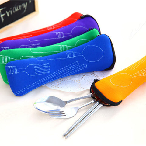 Popular 3X Fork Spoon Travel Stainless Steel Cutlery Portable Bag