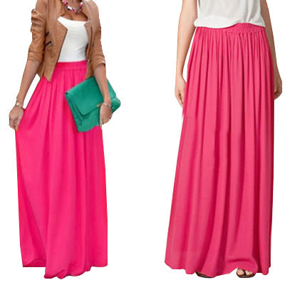 Long Jupe Pleated Chiffon Maxi Skirts