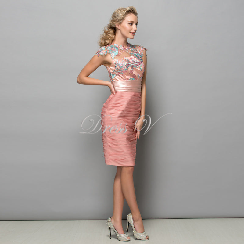4c7d7167383 ... Pink Chiffon Short Cocktail Dresses Sequins Lace Knee Length Women Prom Dress  Designer Formal Holiday Gown ...