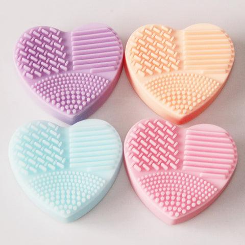 Heart Shape Silica Glove Scrubber Board Cosmetic Cleaning Tools For Makeup Brushes