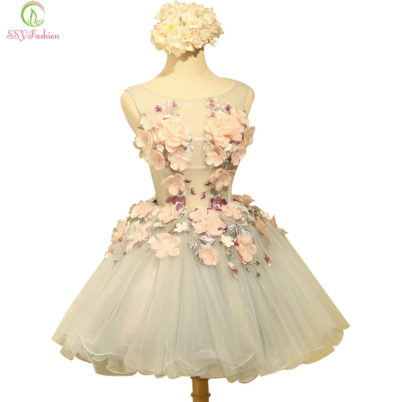 Banquet Sweet Organza Sleeveless Appliques Mini Party Ball Gown - FKF Fashion