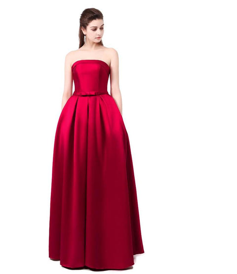 Bridal Strapless Sleeveless Wine Red Danni Slim Long Prom Dress Custom Party Formal Evening Gown - FKF Fashion