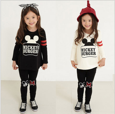 Minnie Print Clothing Long Sleeve Clothing Set for Girls 3-8Y