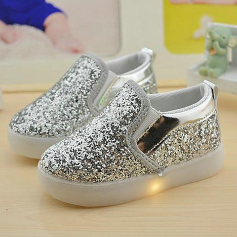 Baby Girls boy LED Light Shoes Toddler Anti-Slip Sports Boots Kids Sneakers Children Sequins PU Flats size 21-30 - FKF Fashion