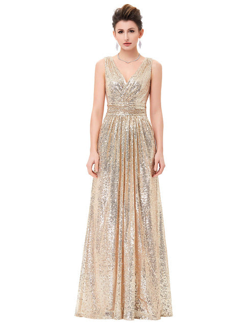 Luxury Gold Silver Long Sequin Double V Neck Evening Gowns Sleeveless Prom Party Formal Dresses 0199