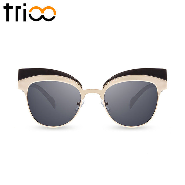 Coating Mirror Sunglasses For Women Gold Cat  Eye Shades - FKF Fashion