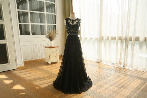 Lace Top Chiffon Evening Dress