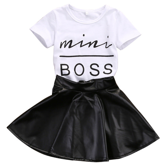 Short Sleeve Mini Boss T-shirt Tops + Leather Skirt 2PCS
