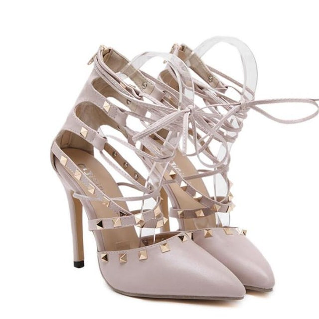 European Style Sexy Hollow Cross Lace Up High Heels - FKF Fashion