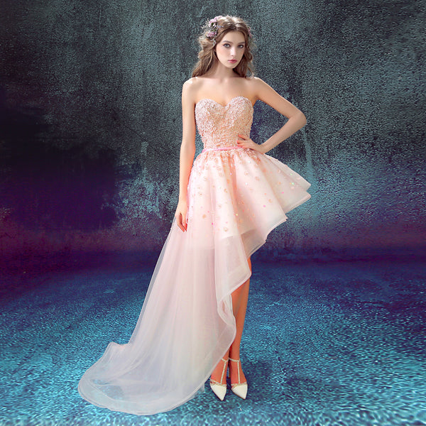 Banquet Pink Lace Sweetheart Flowers Short Front Back Long Tail Prom Dress