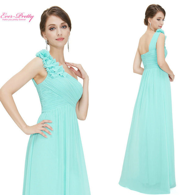 Bridesmaid Dresses One Shoulder Floral Padded Wedding Party - FKF Fashion