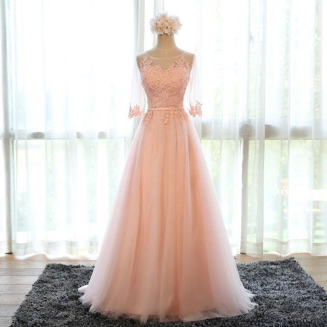 Banquet Sweet Scoop Neck Half Sleeve Transparent Lace Embroidery A-line Long Prom Formal Dress - FKF Fashion