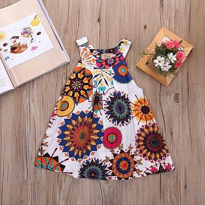 Baby girl Cotton Sleeveless Dress  baby dress Printed +Embroideryatst 2-8 years - FKF Fashion