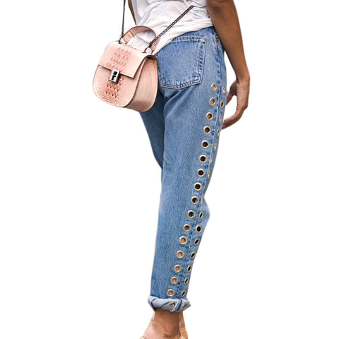 Fashionable Rivets Ripped High Waist Jeans