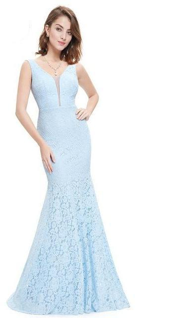 Lace Mermaid Trumpet V-Neck Elegant Prom Dresses