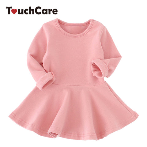 Candy Color Cotton Baby Girl Long Sleeve Solid Princess Dress - FKF Fashion