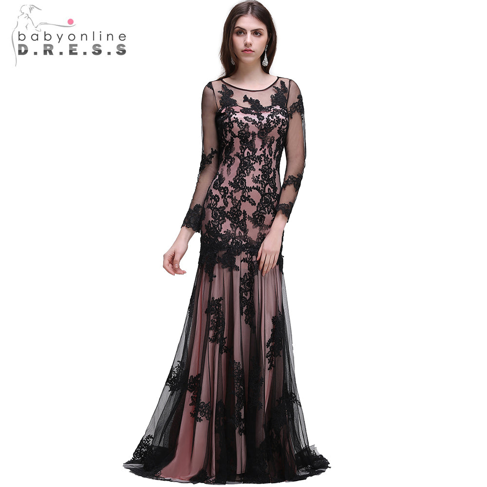 Sexy Black O Neck Lace Mermaid Evening Dresses With Long Sleeve