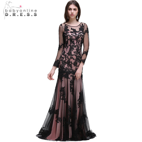 Sexy Black O-Neck Lace Mermaid Evening Dresses With Long Sleeve Formal Dress Prom Party Dresses robe de soiree