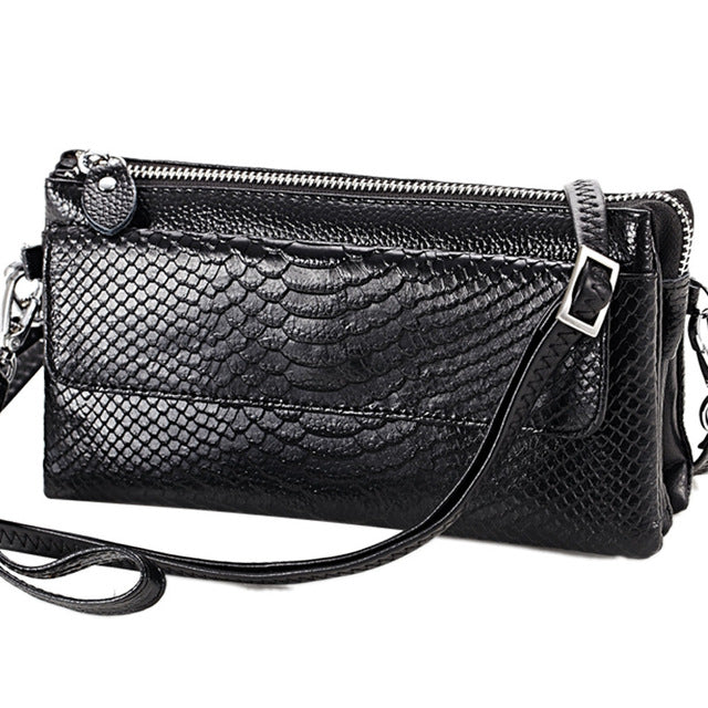 Snake pattern Leather Clutch