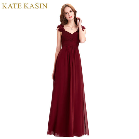 Real Photo Floor Length Long Elegant Party Dress Formal Gown Red Burgundy Evening Dress