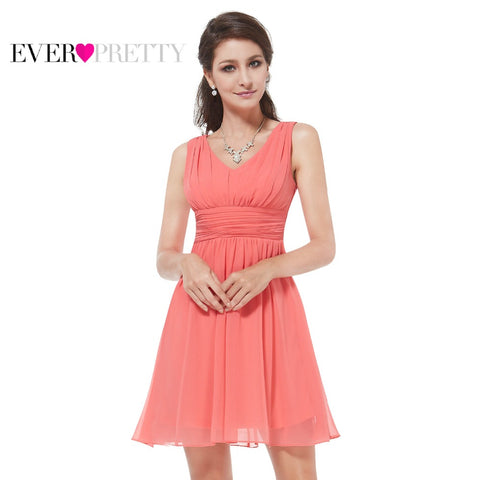 Ever Pretty  Elegant Sleeveless Red Blue Coral Black Purple V-neck Short Party Cocktail Dress