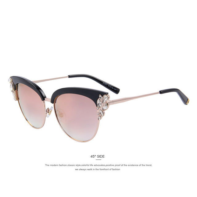 Flower Crystal Decoration Half Frame Butterfly Sunglasses S'8272
