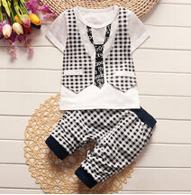 Baby boys toddler 2Pcs lattice gentleman set - FKF Fashion