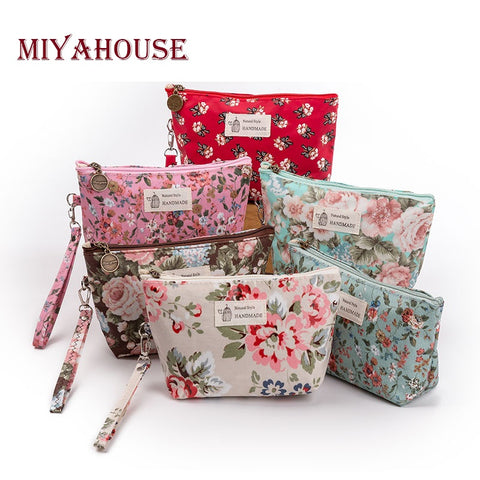 Floral Printed Zipper Cosmetic Bag