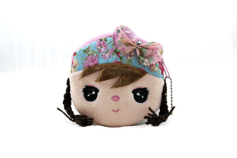 Cartoon Beautiful Doll Face Children Plush Coin Bag For Gift - FKF Fashion