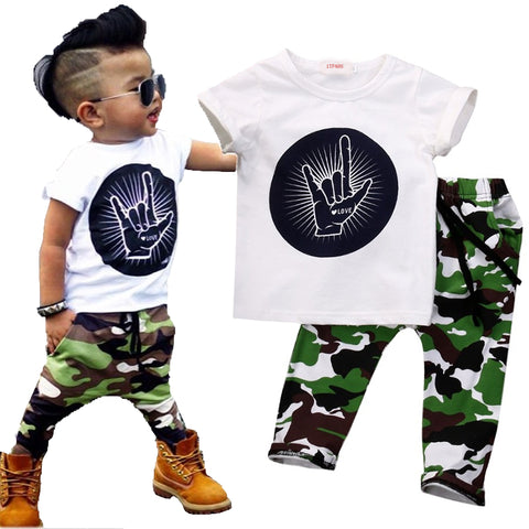 Stylish Infant Toddler Baby Kids Boys Outfits Rock Gesture Tops T-shirt +Camouflage Pants Outfit Set Clothes