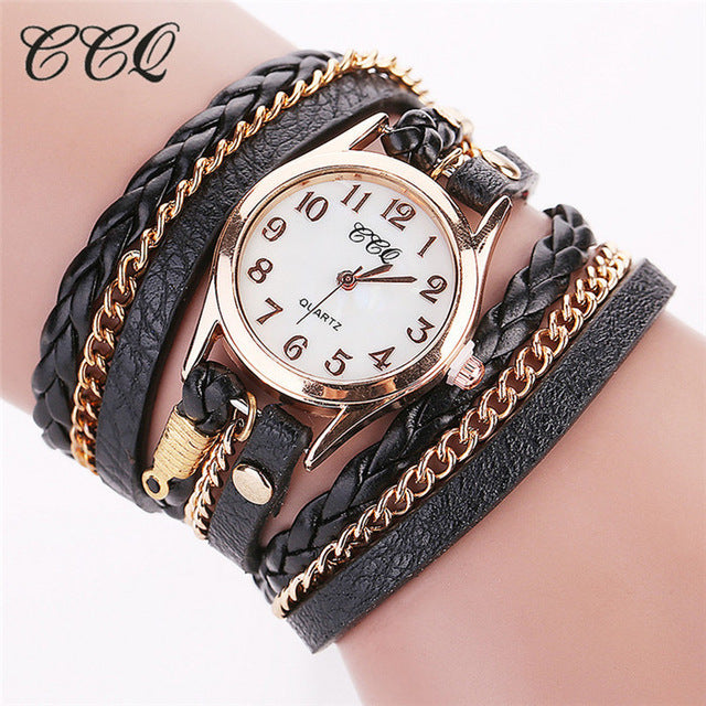 Fashion Gold Chain Leather Bracelet Watch Women Casual Wrist