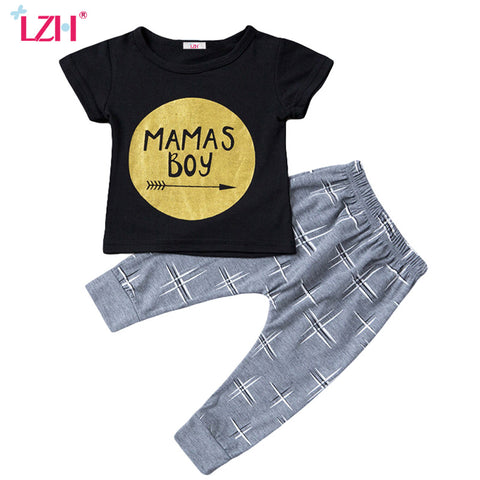 Creative Letter Print T-Shirt+Pant For Boys
