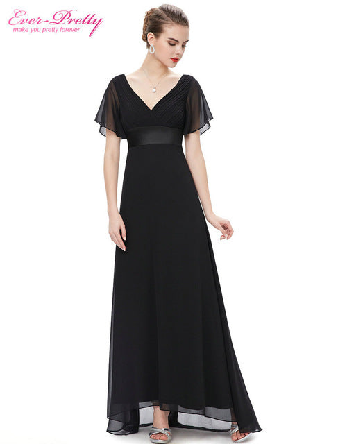 Padded Trailing Flutter Sleeve Long Women Gown 2017 New Chiffon Summer Style Special Occasion Dresses