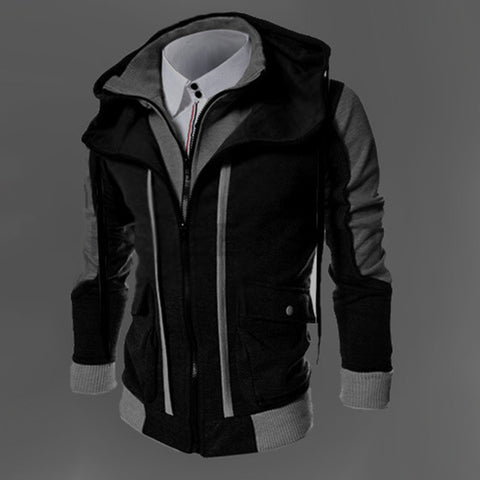Hot Sale Autumn Fake Two Layer Zipper Hoodies and Sweatshirt Color Contrast Men Hoody Jacket