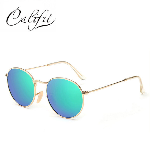 Pink Mirror Polarized Sunglasses For Women Gold Metal