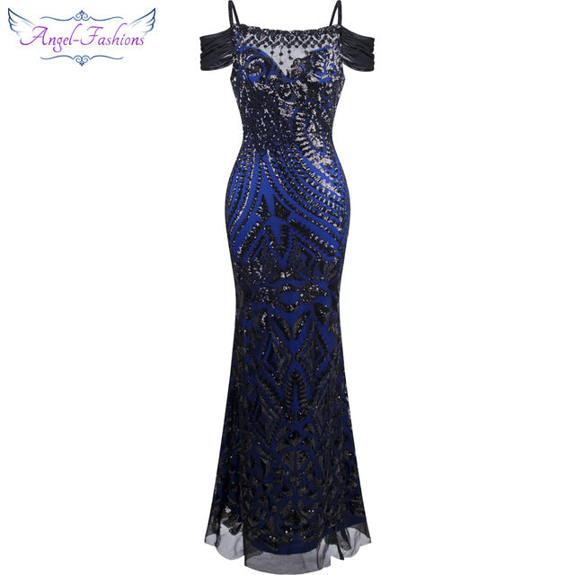 Boat Nect Sequin  Mermaid Long Evening Dress - FKF Fashion