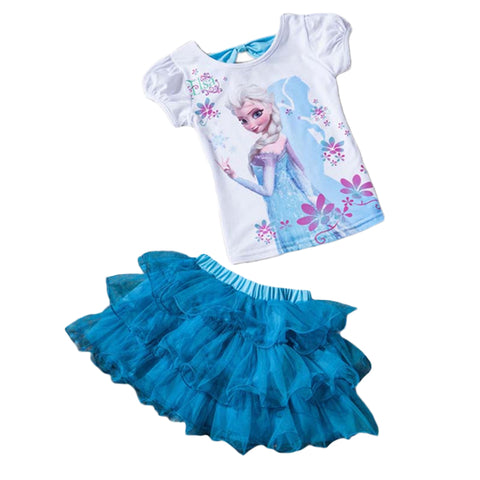 Elsa t shirt + Dress Cotton Baby Girls Suits Set