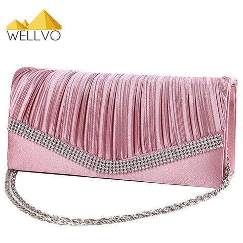 Women Satin Rhinestone Purse